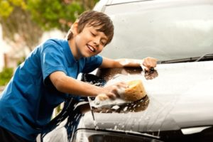 I love washing Dads car!