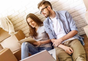 Chilling couple preparing for house moving
